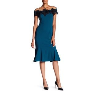 Marina off shoulder appliqué teal new prom dress